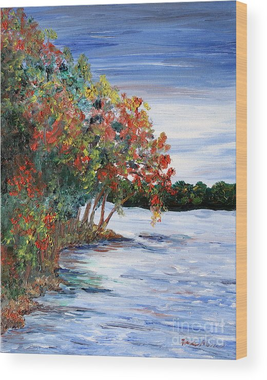Fall Wood Print featuring the painting Back Waters by Linda Steine