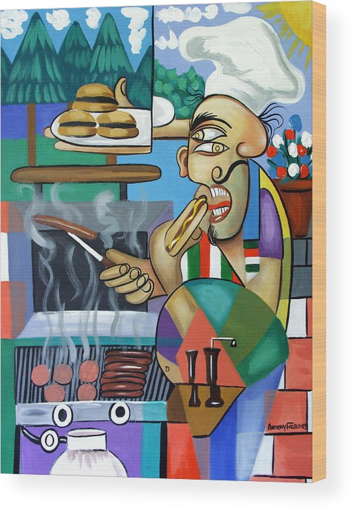 Back Yard Chef Wood Print featuring the painting Backyard Chef by Anthony Falbo