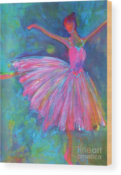 Acrylic Paintings Of Dancers Wood Print featuring the painting Ballet Bliss by Deb Magelssen
