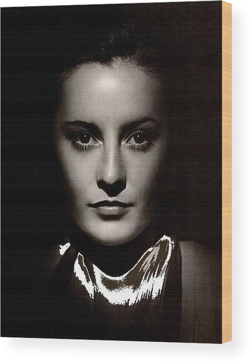 Barbara Stanwyck Early In Her Career C.1933 Wood Print featuring the photograph Barbara Stanwyck Early In Her Career C.1933-2014 by David Lee Guss