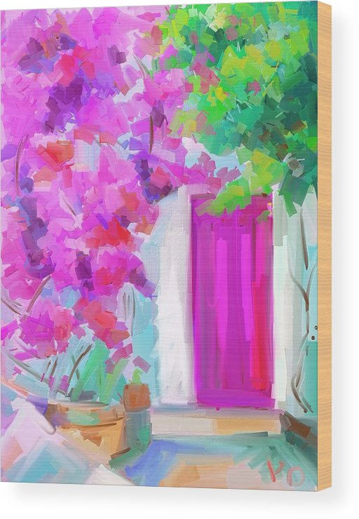 Bougainvillea Wood Print featuring the painting Bougainvillea by Penny Owens