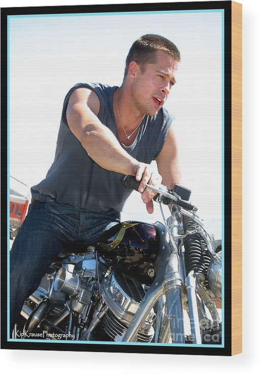 Motorcycle Wood Print featuring the photograph Actor - Brad Pitt On His Harley by Kip Krause