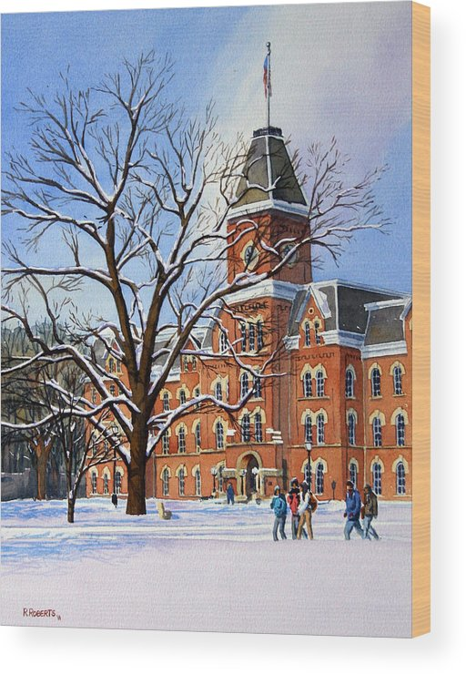 Ohio State University Wood Print featuring the painting Buckeye Winter by Robin Roberts