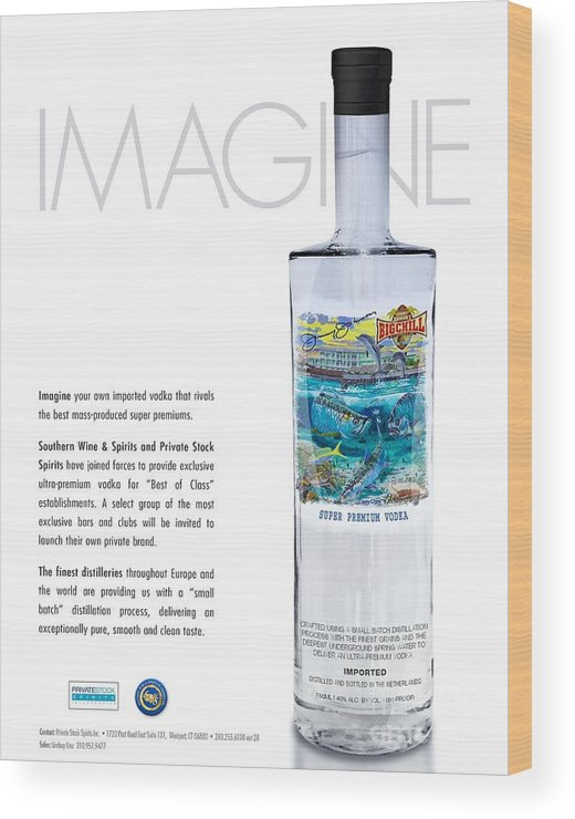 Vodka Wood Print featuring the glass art Carey Chen Big Chill Vodka By Jimmy Johnson by Carey Chen