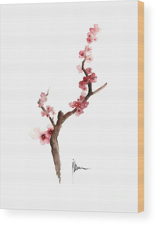 Sakura Wood Print featuring the painting Cherry Blossom Painting Art Print Watercolor Large Poster by Joanna Szmerdt