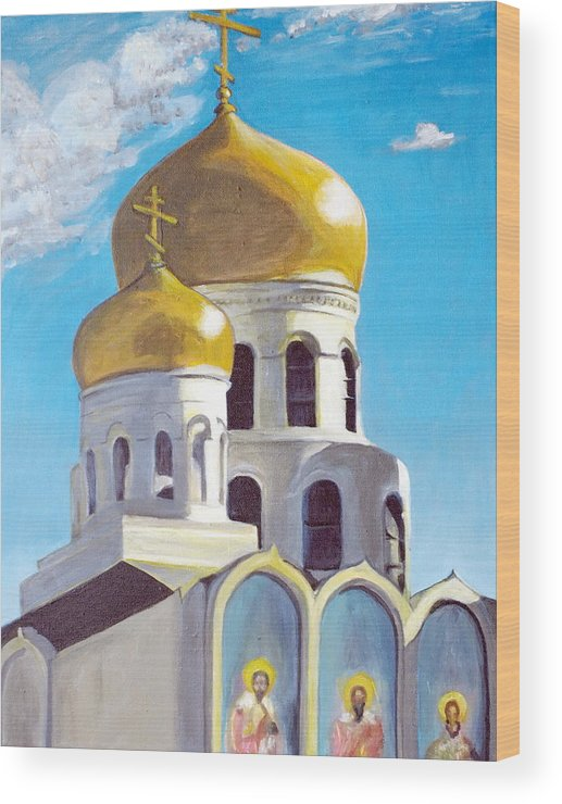 Easter Wood Print featuring the painting Church by Vera Lysenko