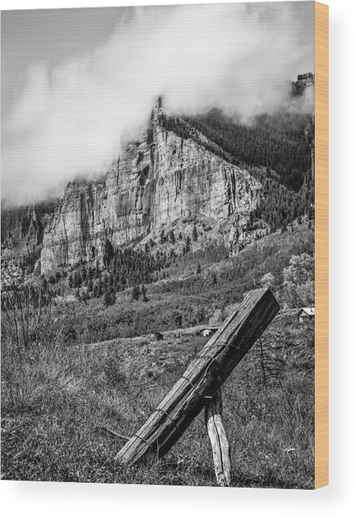 Mountains Wood Print featuring the photograph Corner Post Bnw by Nathan Gingles