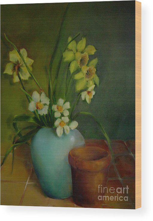Greeting Card Wood Print featuring the painting Daffodils          Copyrighted by Kathleen Hoekstra