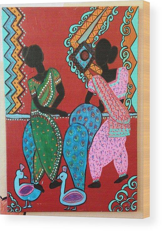 Indian Art Wood Print featuring the painting Dancing Girls - Folk Art by Madhuri Krishna