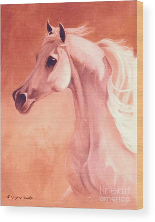 Horses Wood Print featuring the painting Desert Prince Arabian Stallion by Suzanne Schaefer