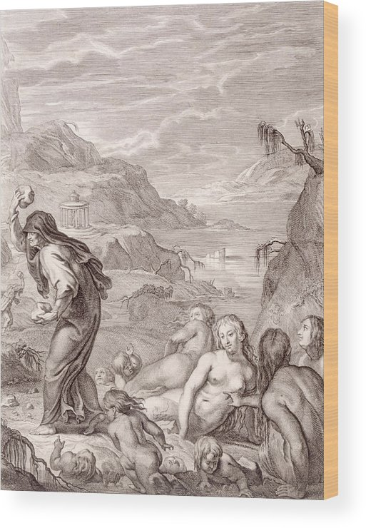 Stone Wood Print featuring the drawing Deucalion And Pyrrha Repeople The World By Throwing Stones Behind Them by Bernard Picart