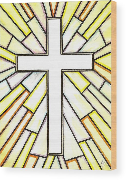 Cross Wood Print featuring the painting Easter Cross 3 by Jim Harris
