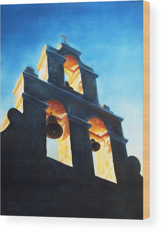 Building Wood Print featuring the painting Evening Mission by Scott Alcorn