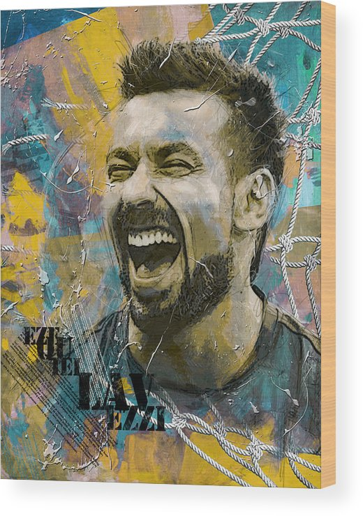 Lavezzi Wood Print featuring the painting Ezequiel Lavezzi by Corporate Art Task Force