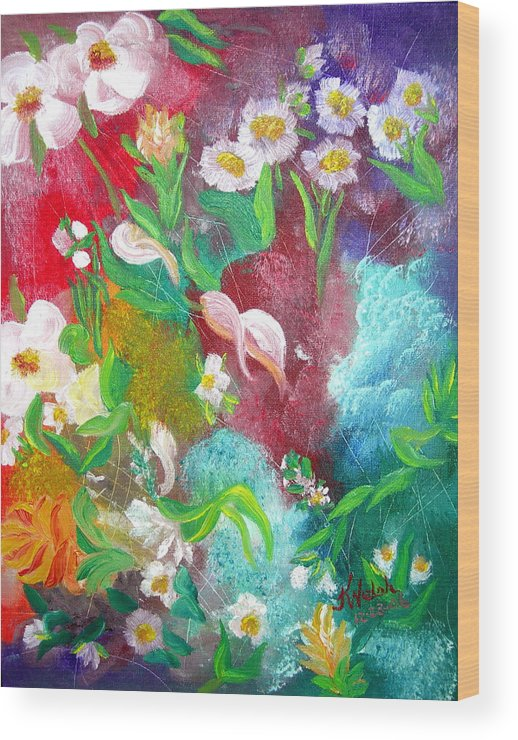 Abstract Wood Print featuring the painting Floral Fantasy by Kathern Welsh