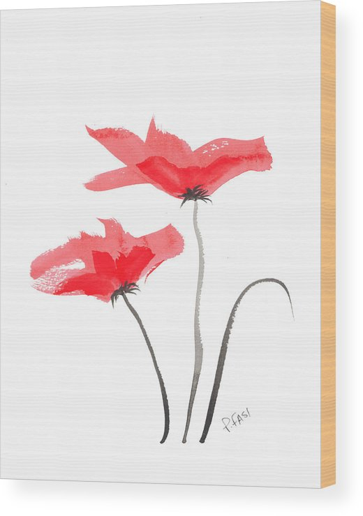 Red Wood Print featuring the painting Floral Series #5 by Peter Fasi