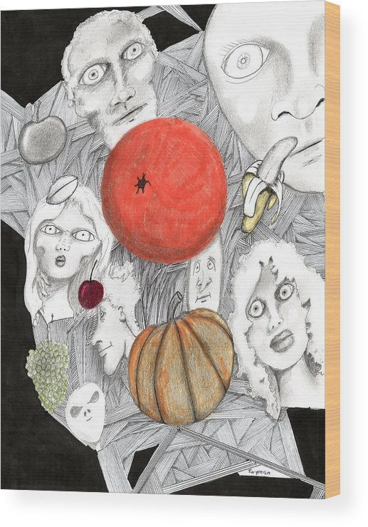 Fruit Wood Print featuring the drawing Fruit Afloat by Dan Twyman