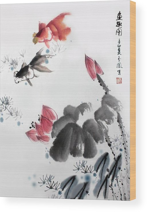 Gold Fish Wood Print featuring the photograph Gold Fish In Lotus Pond by Yufeng Wang