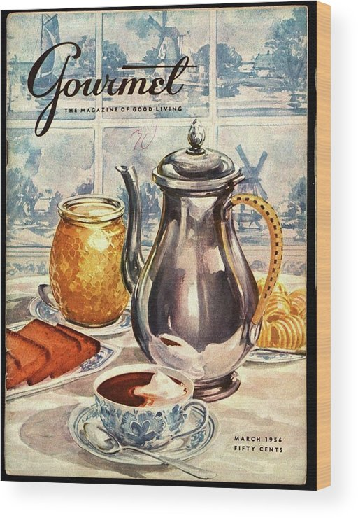 Illustration Wood Print featuring the photograph Gourmet Cover Featuring An Illustration by Hilary Knight