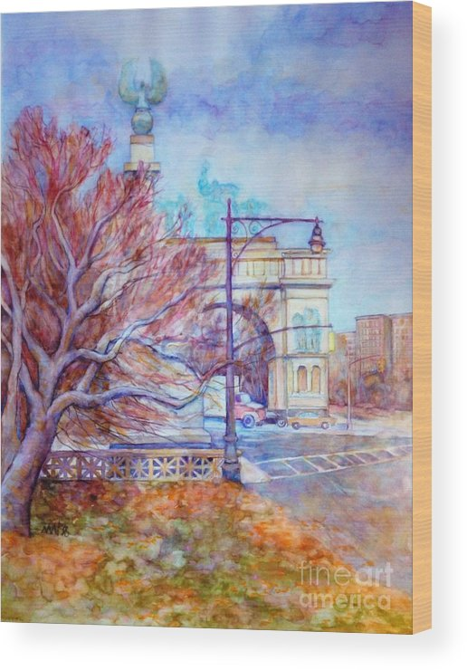 Park Slope Wood Print featuring the painting Grand Army Plaza With Lamppost And Tree by Nancy Wait