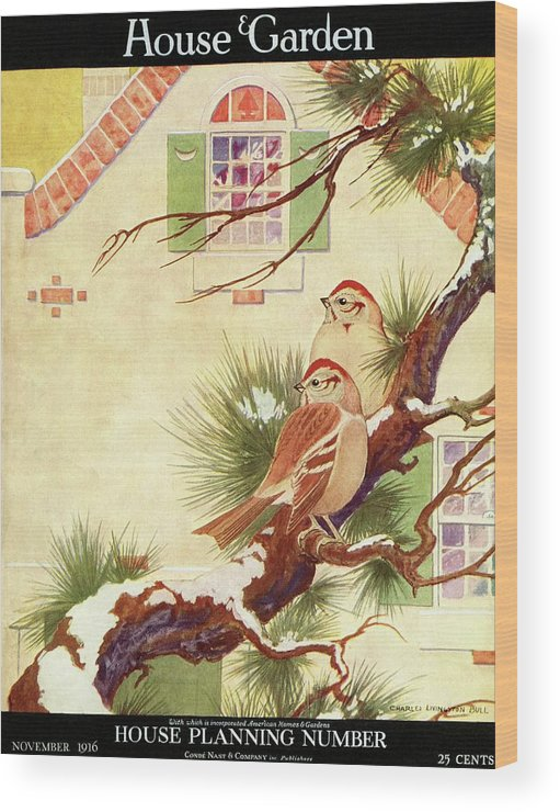 Illustration Wood Print featuring the photograph House And Garden Cover by Charles Livingston Bull
