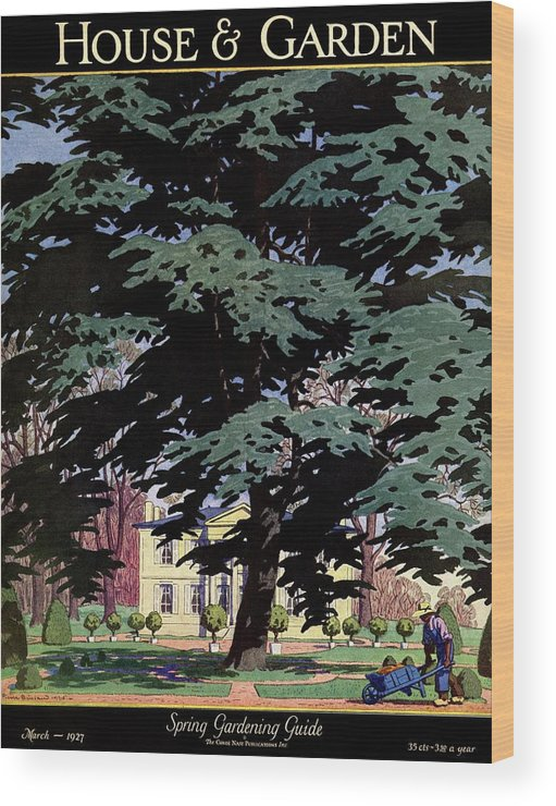 House And Garden Wood Print featuring the photograph House And Garden Spring Gardening Guide Cover by Pierre Brissaud