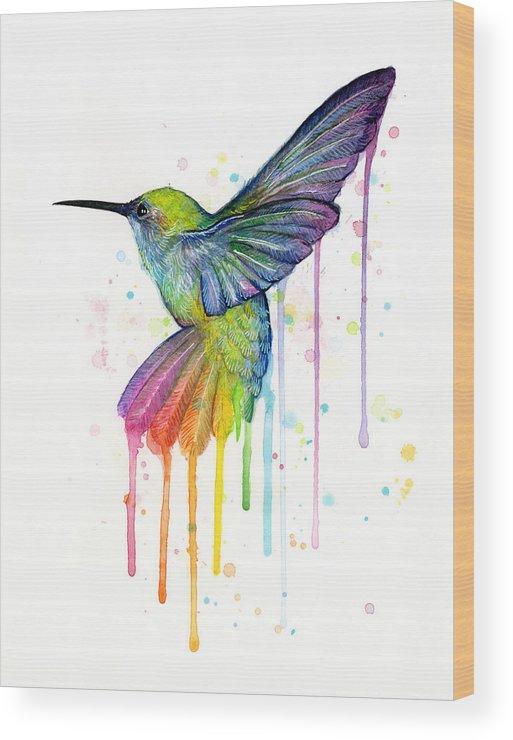 Hummingbird Wood Print featuring the painting Hummingbird Of Watercolor Rainbow by Olga Shvartsur