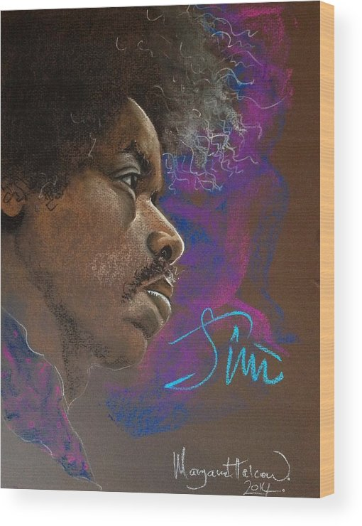 Jimi Hendrix Wood Print featuring the painting Jimi by Margaret Halcrow-Cross