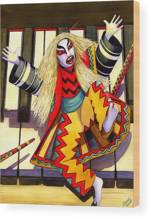 Kabuki Wood Print featuring the painting Kabuki Chopsticks 3 by Catherine G McElroy