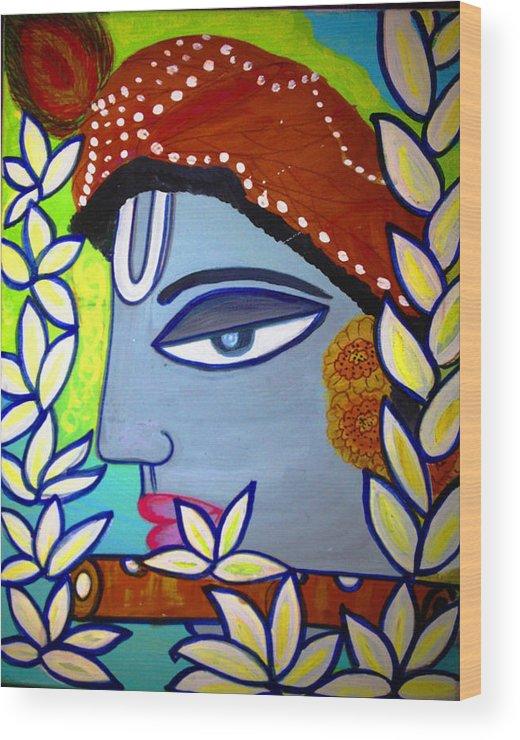 Krishna Painting Wood Print featuring the painting Krishna Playing Flute by Madhuri Krishna