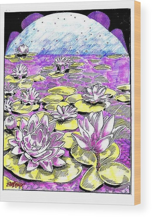 Lilies Of The Lake Wood Print featuring the drawing Lilies Of The Lake by Seth Weaver
