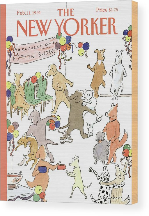 Dogs Of All Kinds Mingle At A Dance Wood Print featuring the painting New Yorker February 11th, 1991 by Danny Shanahan