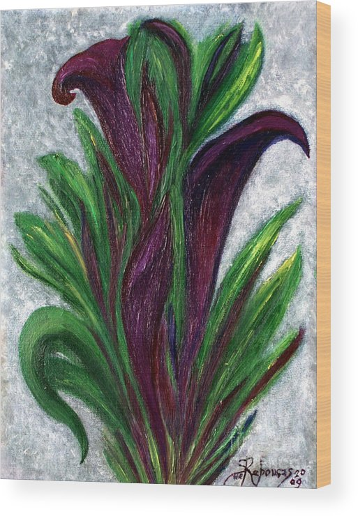 Callas Wood Print featuring the painting No. 028 Purple Callas by Suelene Reboucas