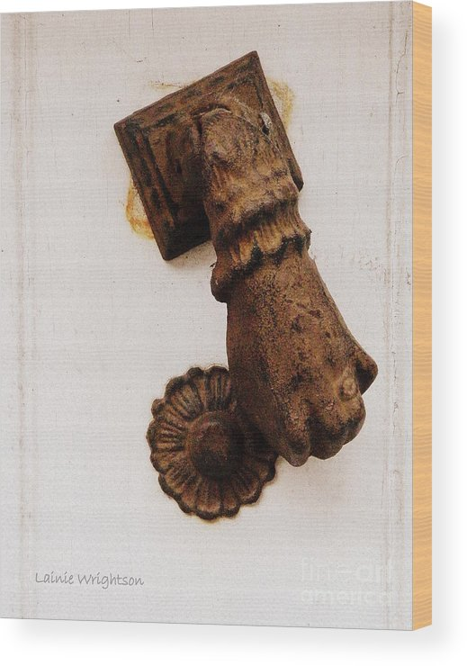 Doorknocker Wood Print featuring the photograph Off It's Knocker by Lainie Wrightson