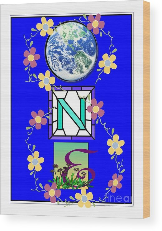 Oneness Wood Print featuring the digital art Universal One-ness by Bobbee Rickard