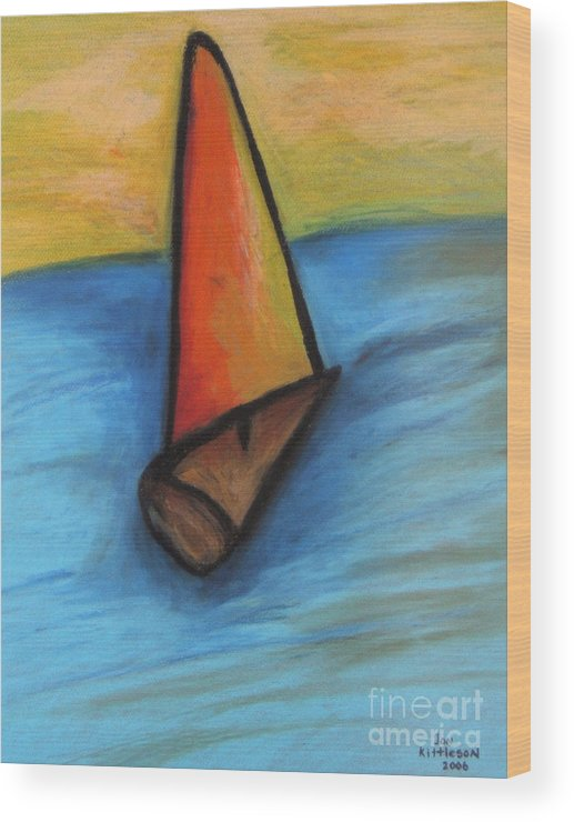 Sail Boat Wood Print featuring the pastel Out To Sea by Jon Kittleson