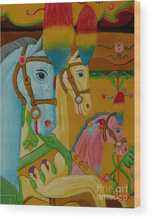 Carousel Wood Print featuring the painting Painted Ponies by Anthony Dunphy