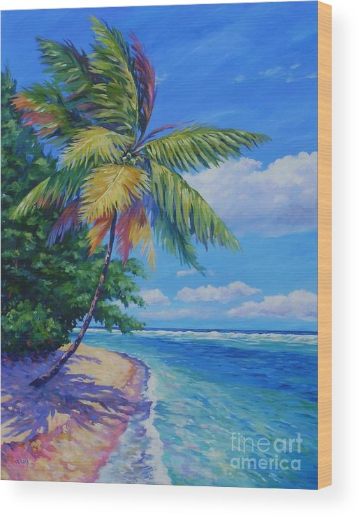 Art Wood Print featuring the painting Palm At The Water's Edge by John Clark