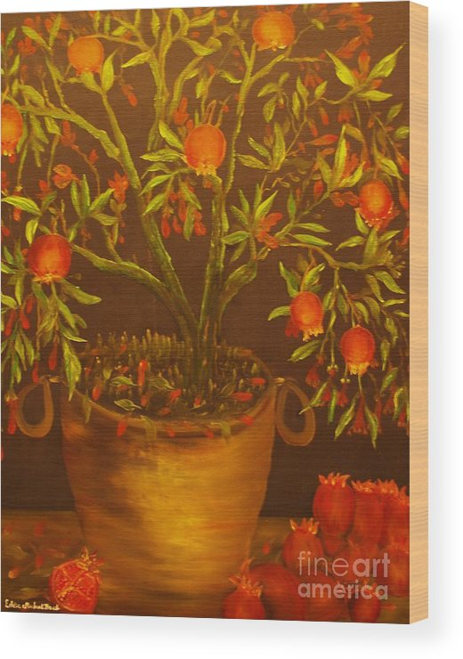 Pomegranate.plant Wood Print featuring the painting Pomegranate Tree Of Love-original Sold- Buy Giclee Print Nr 28 Of Limited Edition Of 40 Prints  by Eddie Michael Beck