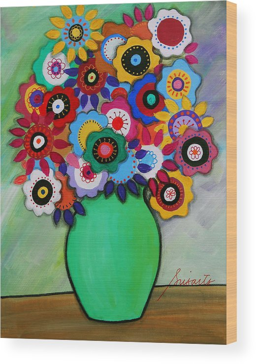 Still Life Wood Print featuring the painting Prisarts Florals IIi by Pristine Cartera Turkus
