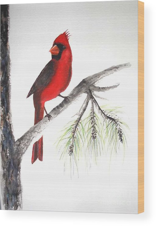 Bird Wood Print featuring the painting Red Cardinal by Sibby S