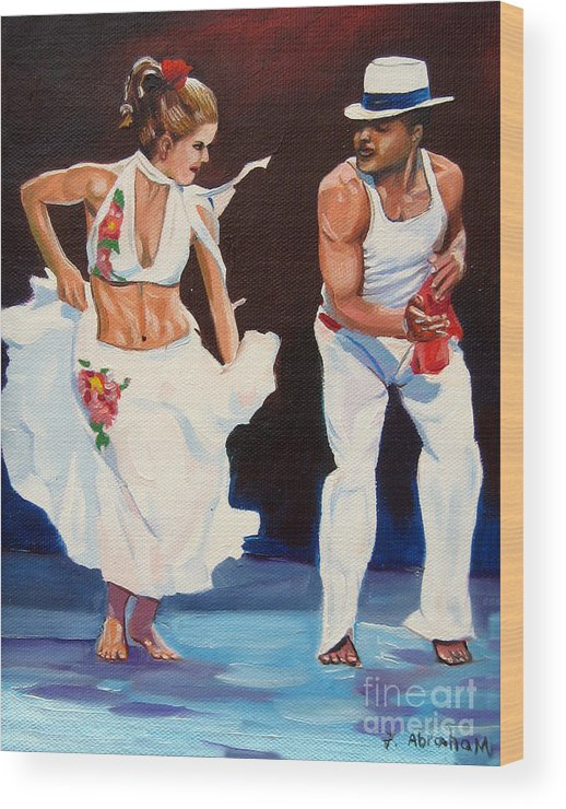 Dancing Wood Print featuring the painting Salsa by Jose Manuel Abraham