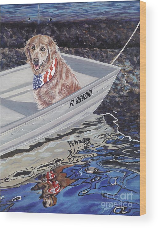 Golden Retriever Wood Print featuring the painting Seadog by Danielle Perry