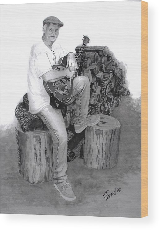 Musician Wood Print featuring the painting Sherman Dillon by Ferrel Cordle