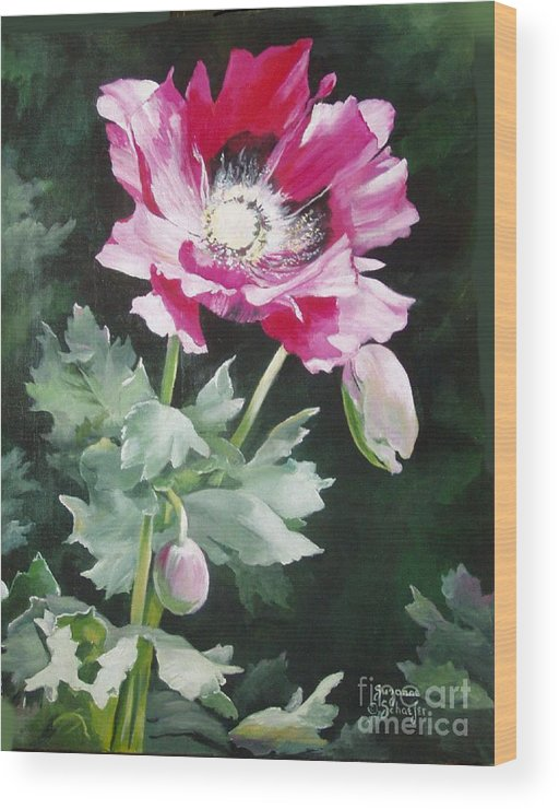 Poppy Wood Print featuring the painting Shining Star Poppy by Suzanne Schaefer
