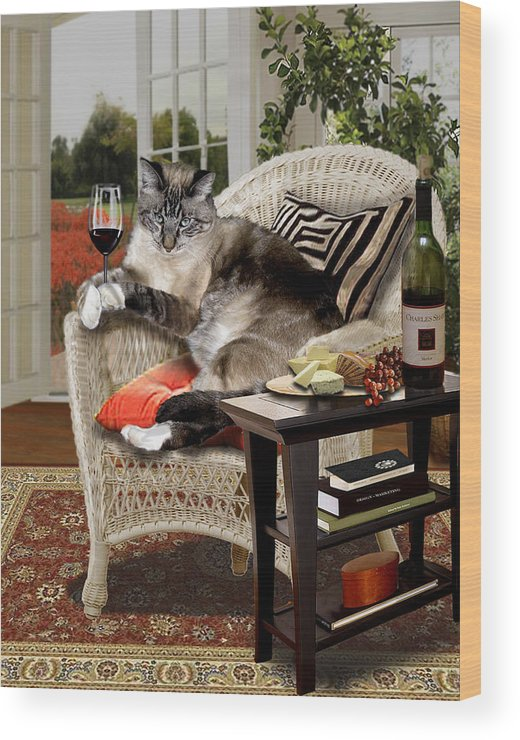 Photo Realism Wood Print featuring the painting Funny Pet A Wine Bibbing Kitty by Regina Femrite