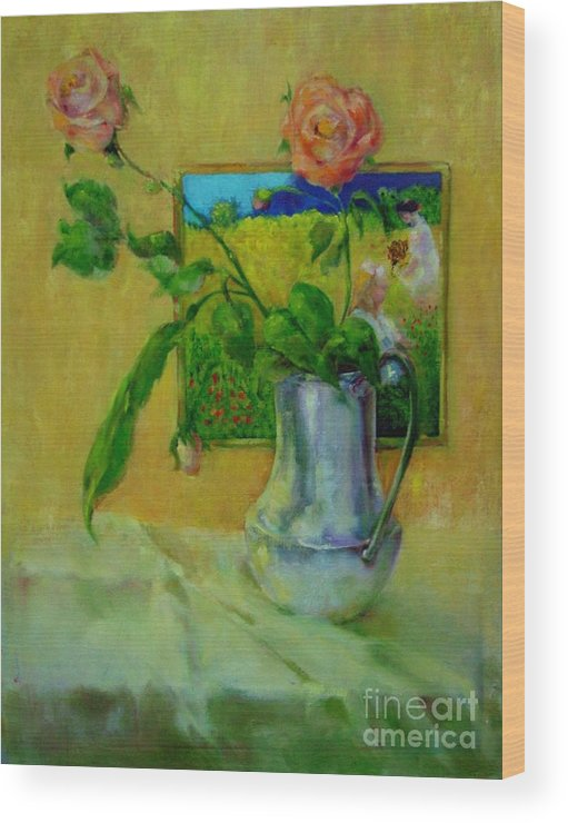 Floral Wood Print featuring the painting Silver And Roses   Copyrighted by Kathleen Hoekstra