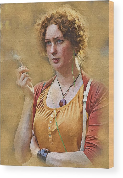 Girl Wood Print featuring the digital art Smoke And Music by Yury Malkov