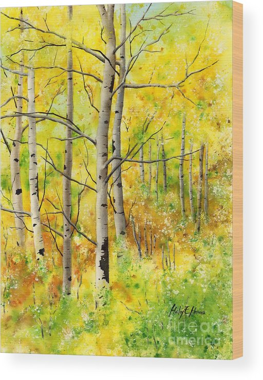 Trees Wood Print featuring the painting Spring Aspens by Hailey E Herrera