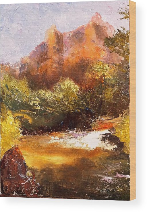 Landscape Wood Print featuring the painting Springs In The Desert by Gail Kirtz
